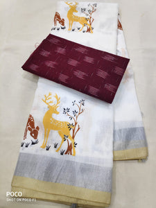 Beautiful Designer Linen Printed Saree MS-2133