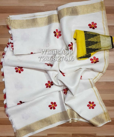 Beautiful Designer Linen Printed Saree MS-2146