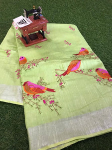 Beautiful Designer Linen Printed Saree MS-2158