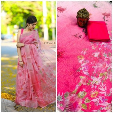 Beautiful Designer Linen Printed Saree MS-2162