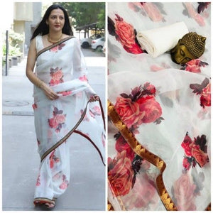 Beautiful Designer Linen Printed Saree MS-2173