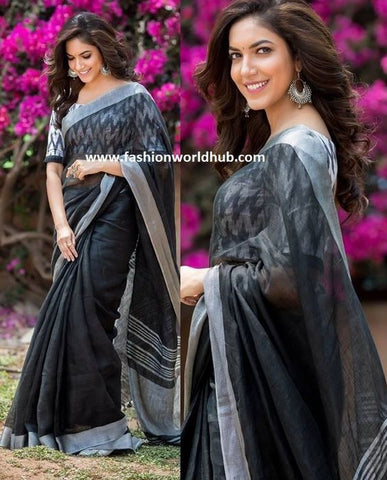 Beautiful Designer Linen Printed Saree MS-2177