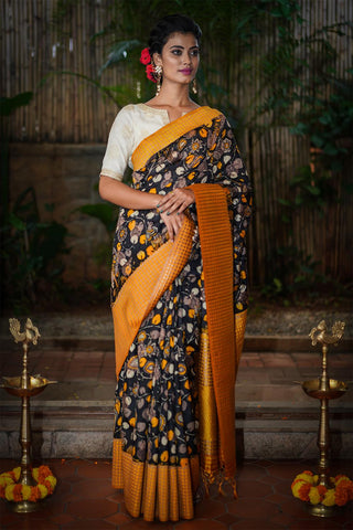 Beautiful Designer Linen Printed Saree MS-2179