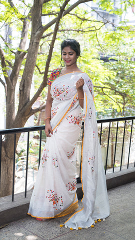 Beautiful Designer Linen Printed Saree MS-2183