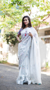 Beautiful Designer Linen Printed Saree MS-2184