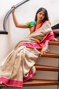 Beautiful Designer Linen Printed Saree MS-2211