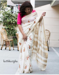 Beautiful Designer Linen Printed Saree MS-2217