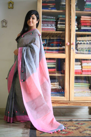 Beautiful Designer Linen Printed Saree MS-2239