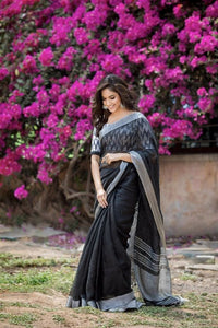 Beautiful Designer Linen Printed Saree MS-2252