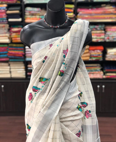 Beautiful Designer Linen Printed Saree MS-2255