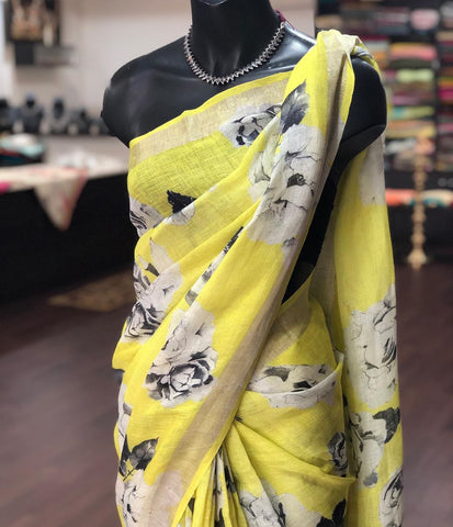 Beautiful Designer Linen Printed Saree MS-2261