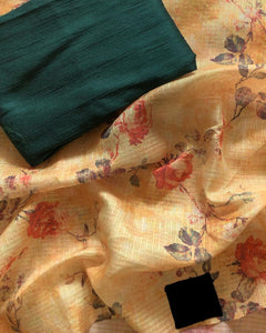 Beautiful Designer Linen Printed Saree MS-2273