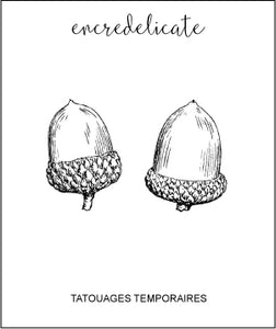 Tatouage temporaire vintage de gland (lot de 2) - encredelicate