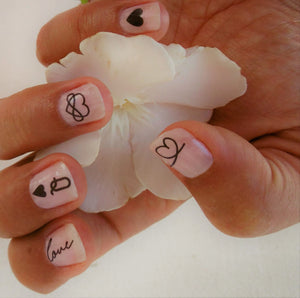 Stickers nail art coeur et mot love