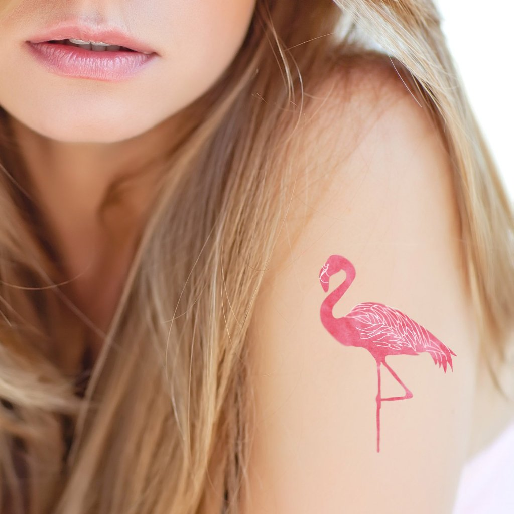 Tatouage temporaire flamant rose en aquarelle - encredelicate