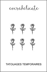 Tatouage temporaire de mini rose (lot de 4)