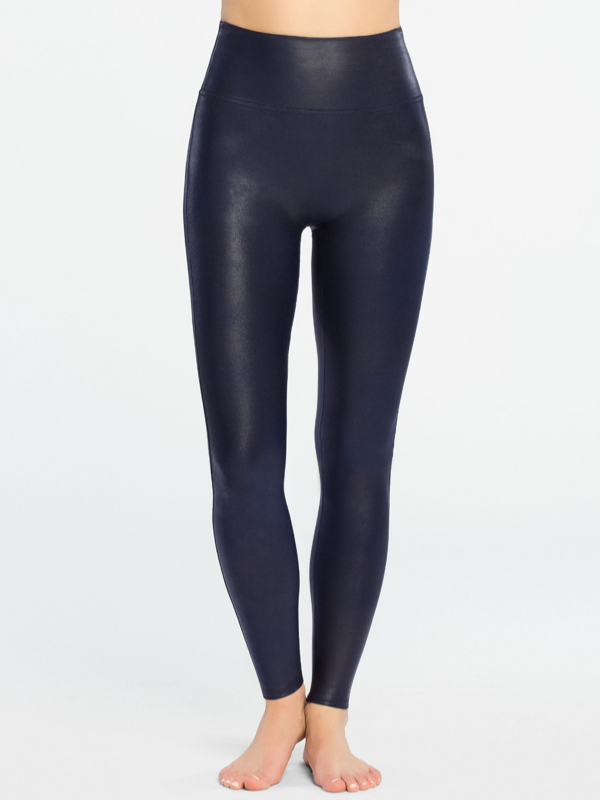 SPANX Faux Leather Leggings in Night Navy