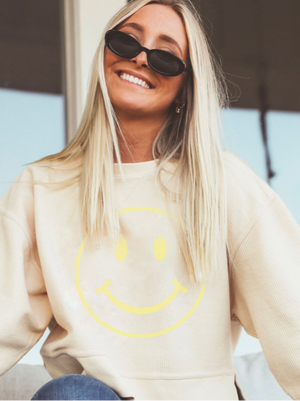 Smiley Cropped Corded Sweatshirt
