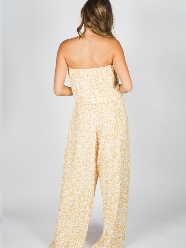 Moroccan Days Jumpsuit in Yellow & Cream Leopard