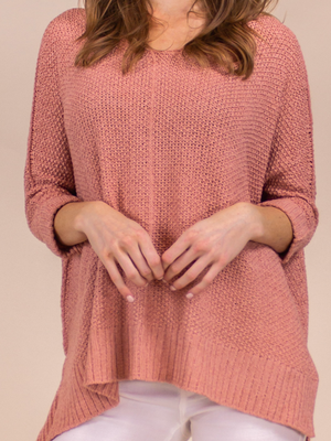 Pullover Sweater Loose-Knit Pink