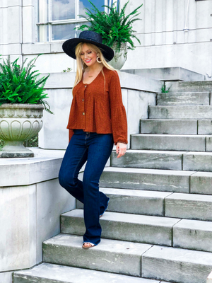 Button Down Ruffle Rust Top