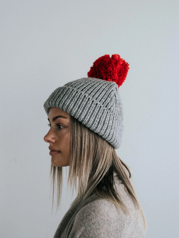 Emery Grey and Red Beanie