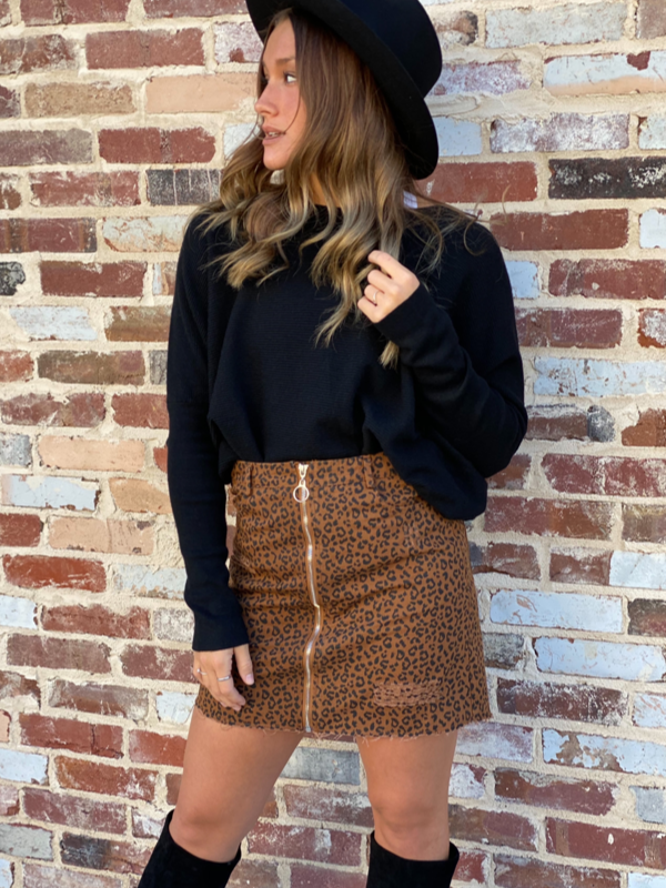 Distressed Cheetah Skirt
