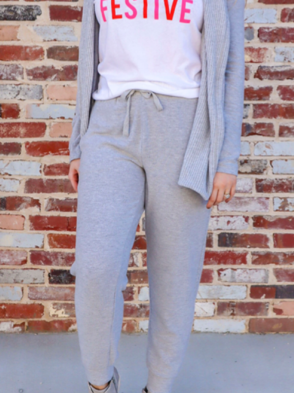Thermal Panel Joggers in Heather Gray