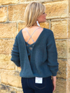Criss Cross Back Grey Knit Sweater