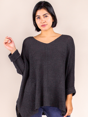 Pullover Sweater Loose-Knit Charcoal