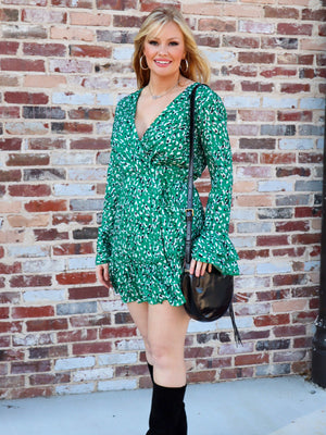 Green and Black Wrap Dress