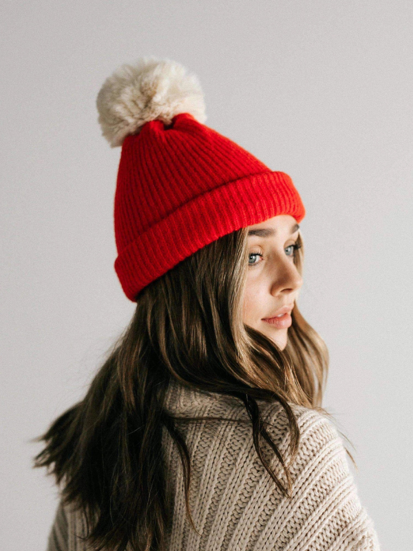 Dylan Red with Cream Pom Beanie
