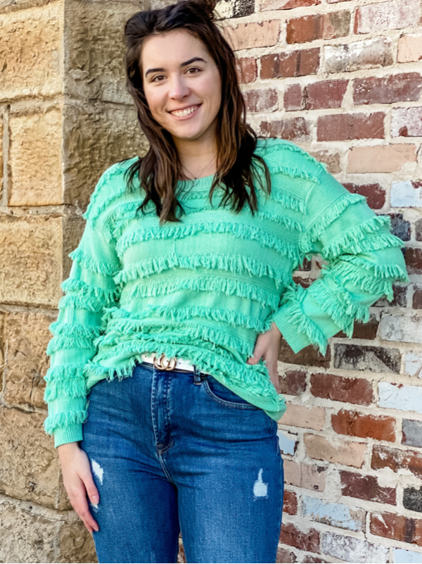 Mint About You Fringe Sweater