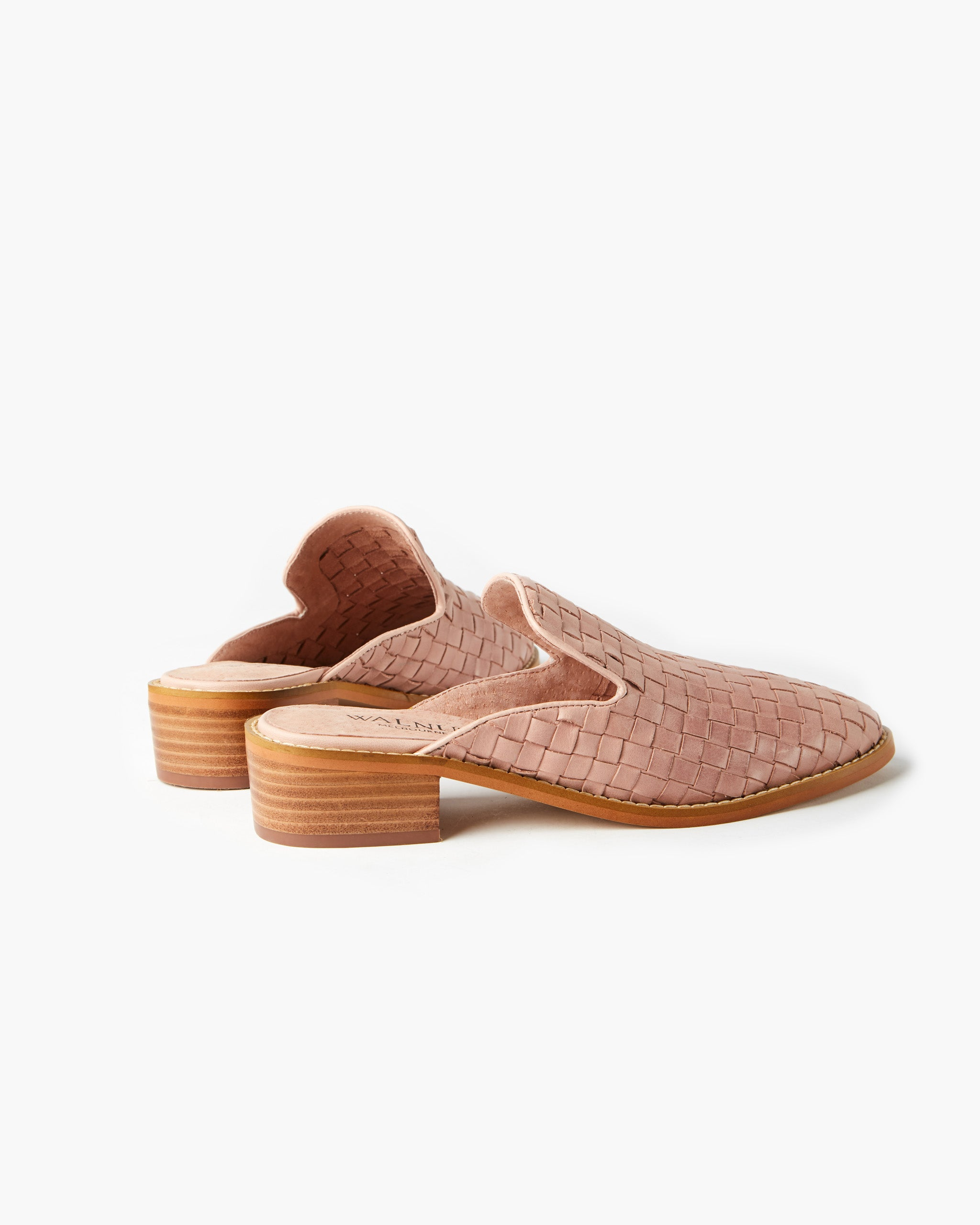 Gwen Leather Weave Mule - Blush
