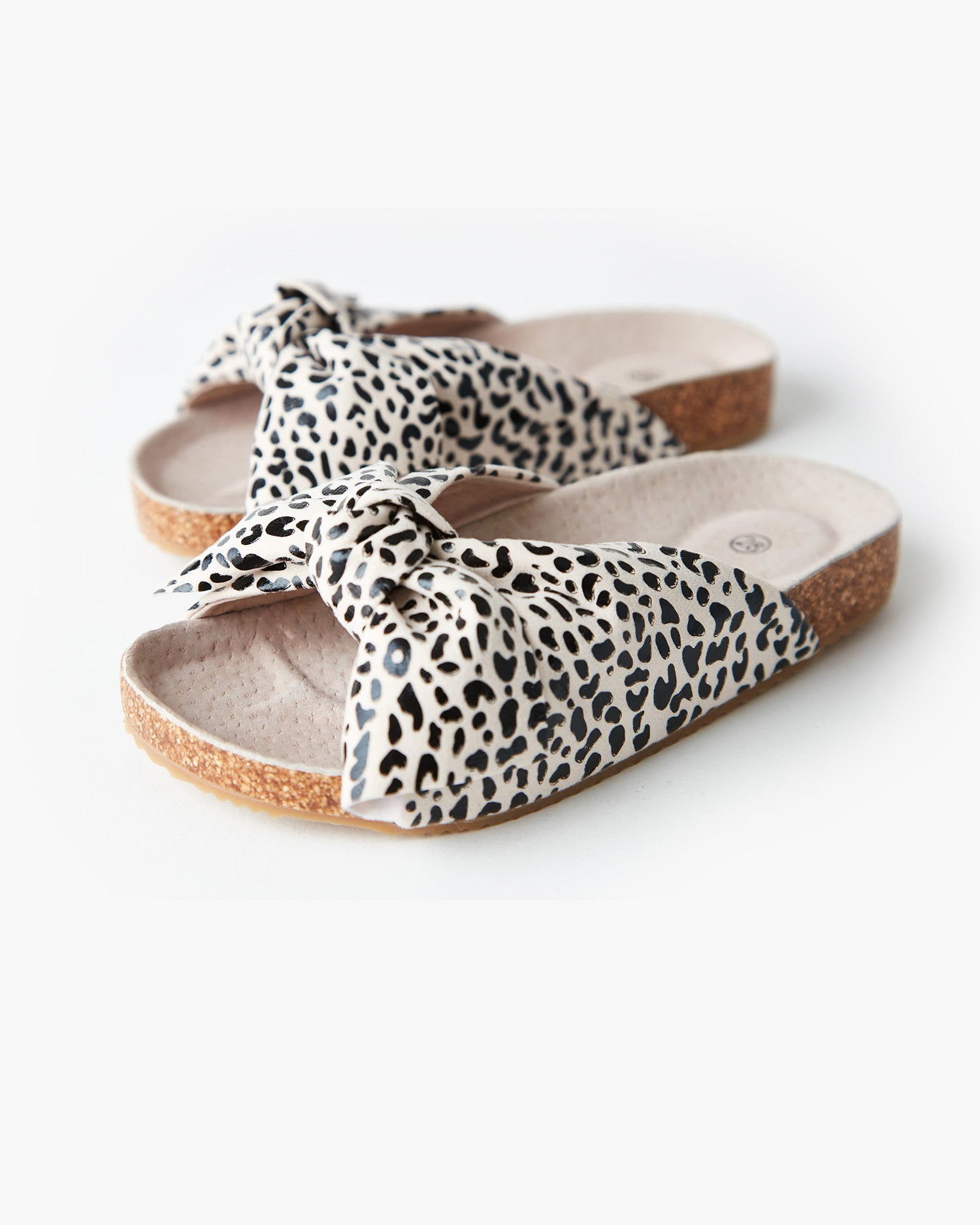 Somerset Bow Mini Slide - Light Tan Leopard