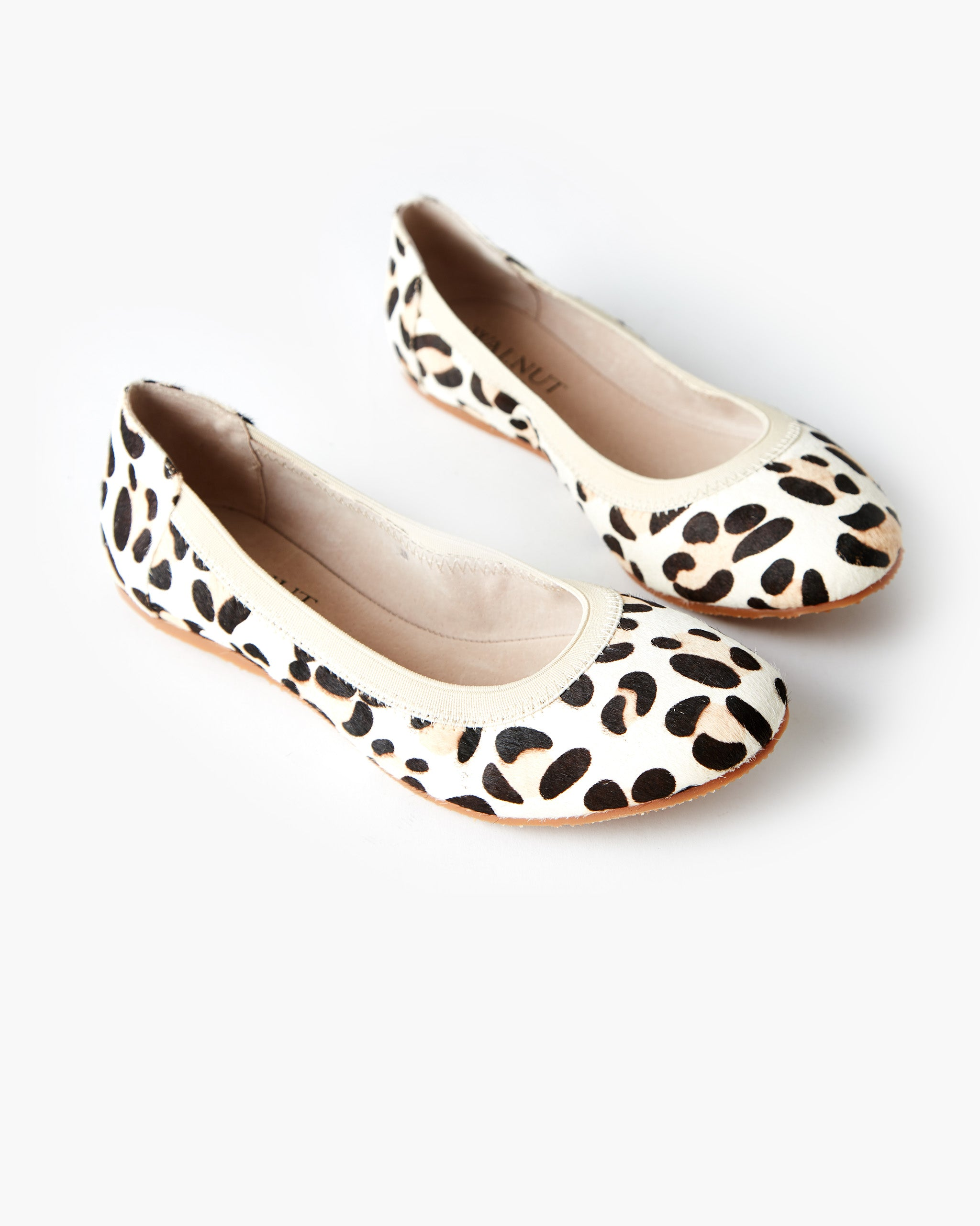 Ava Leather Ballet Flat - White Leopard Pony