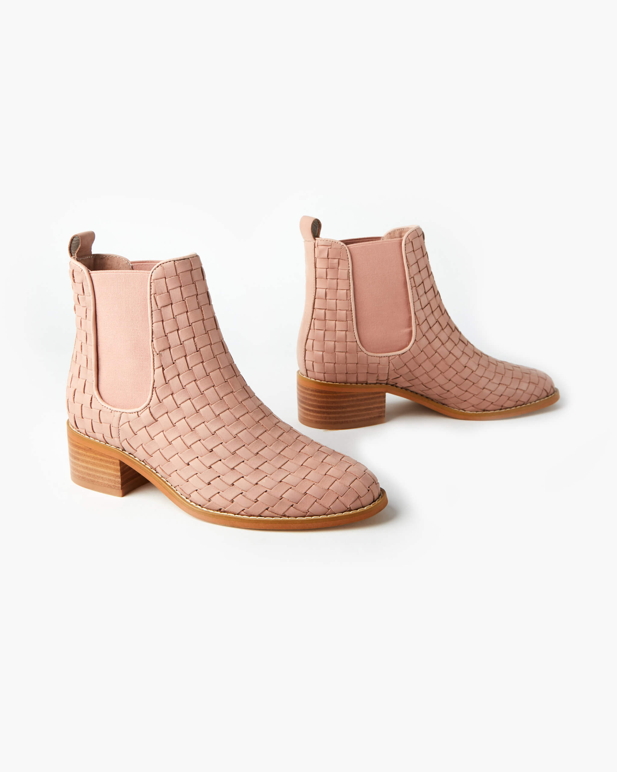 Grace Leather Weave Ankle Boot - Blush
