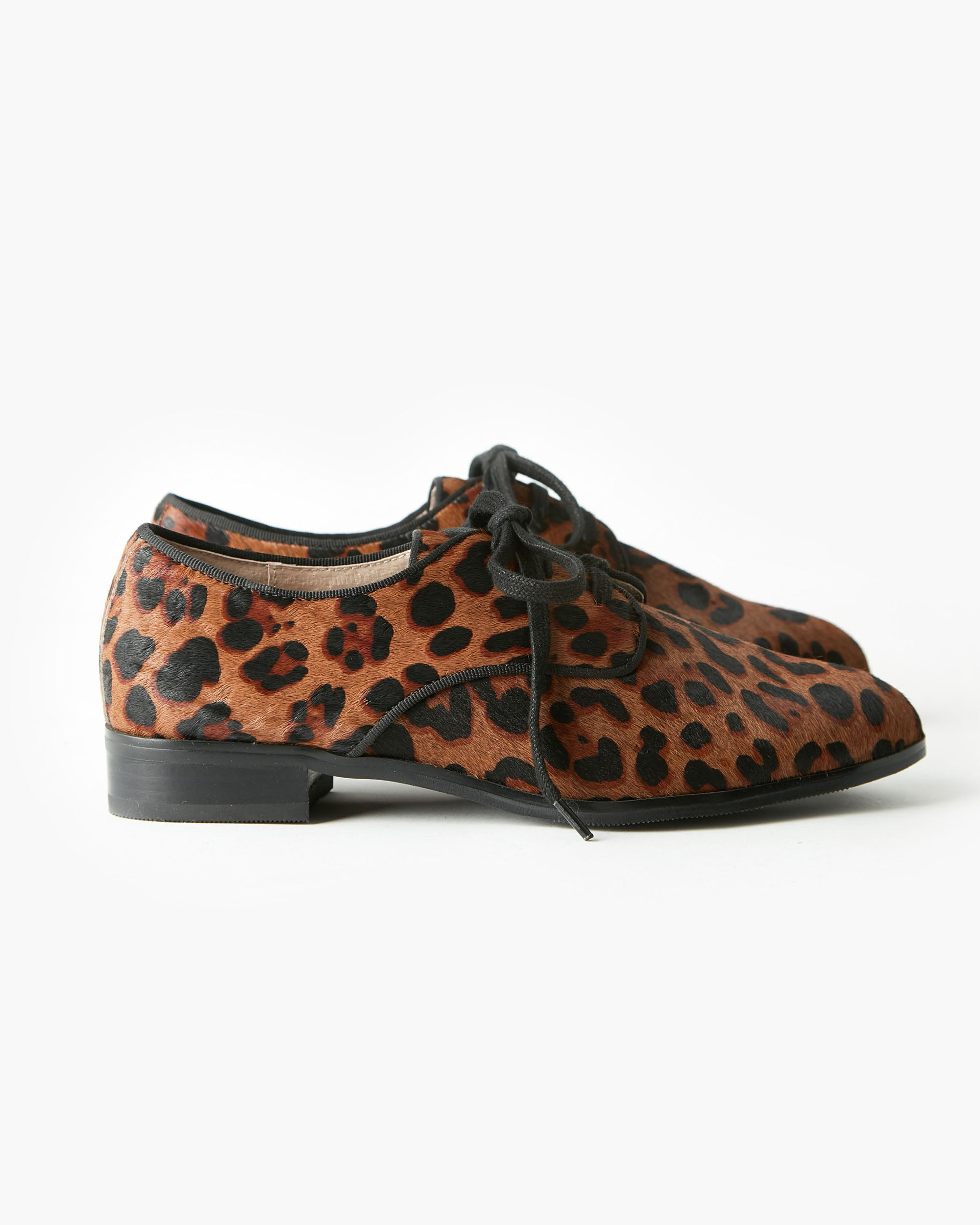 Alanta Leather Lace Up Brogue - Chocolate Leopard