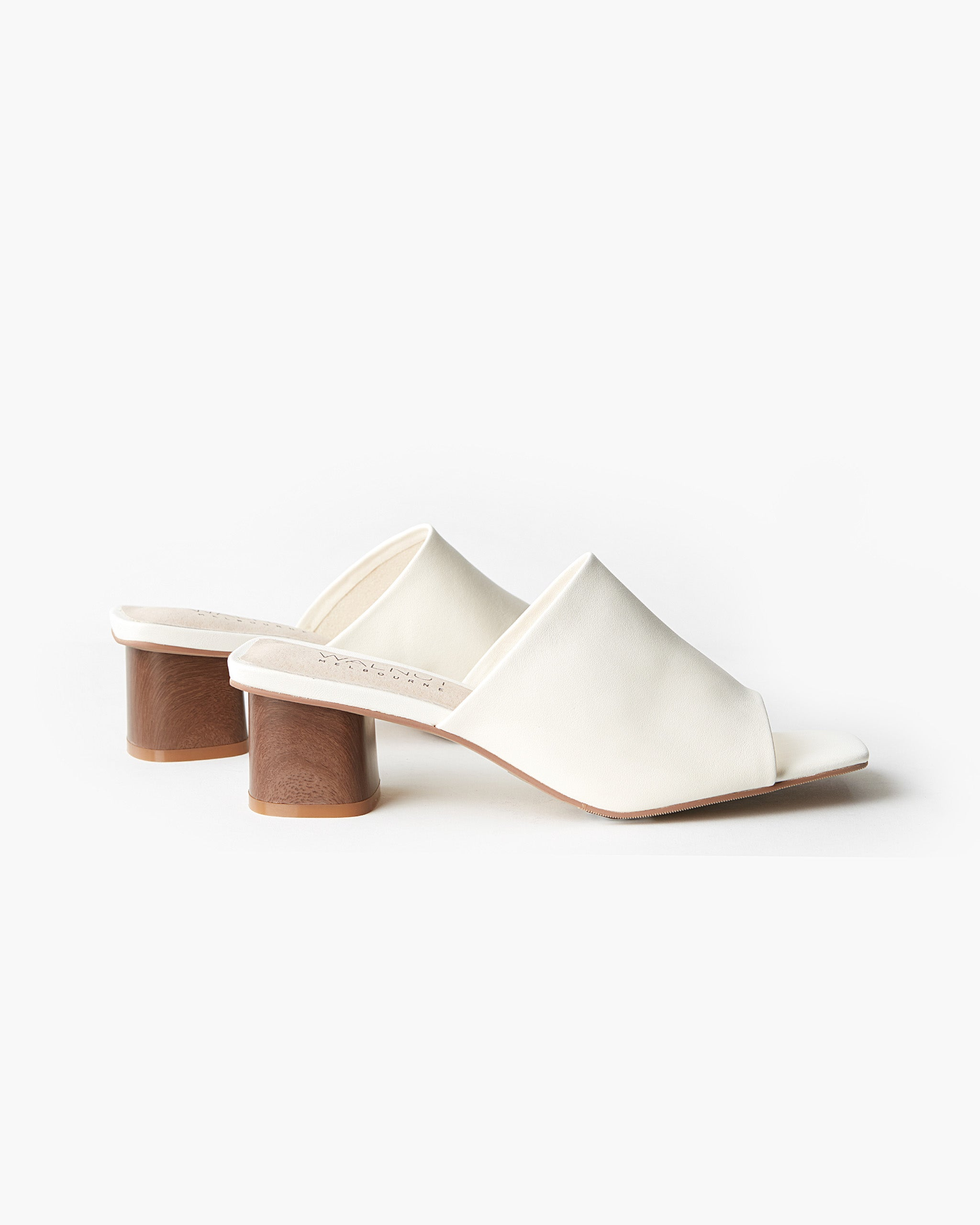 Indie Leather Block Heel - White