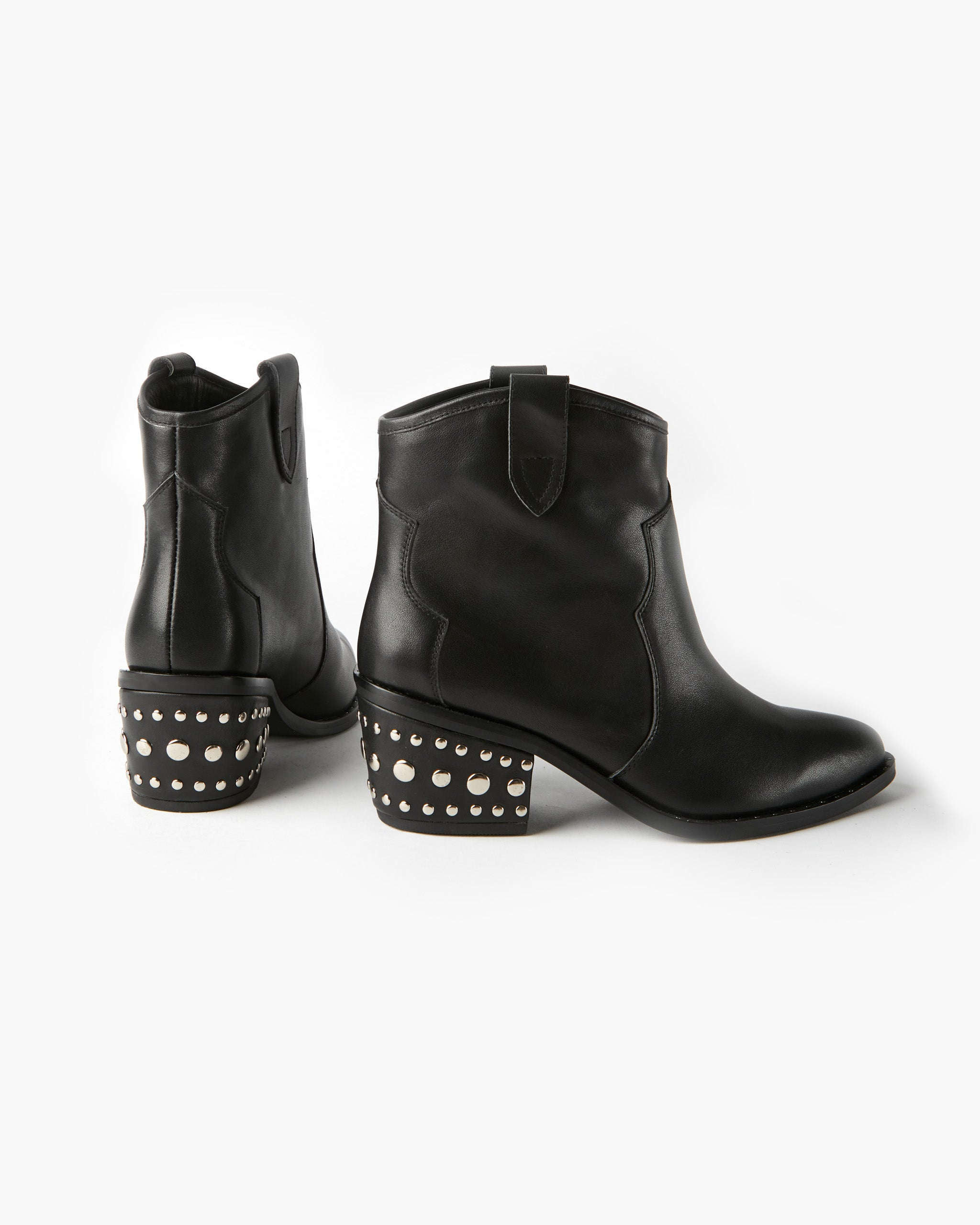 Willow Western Leather Ankle Boot - Black