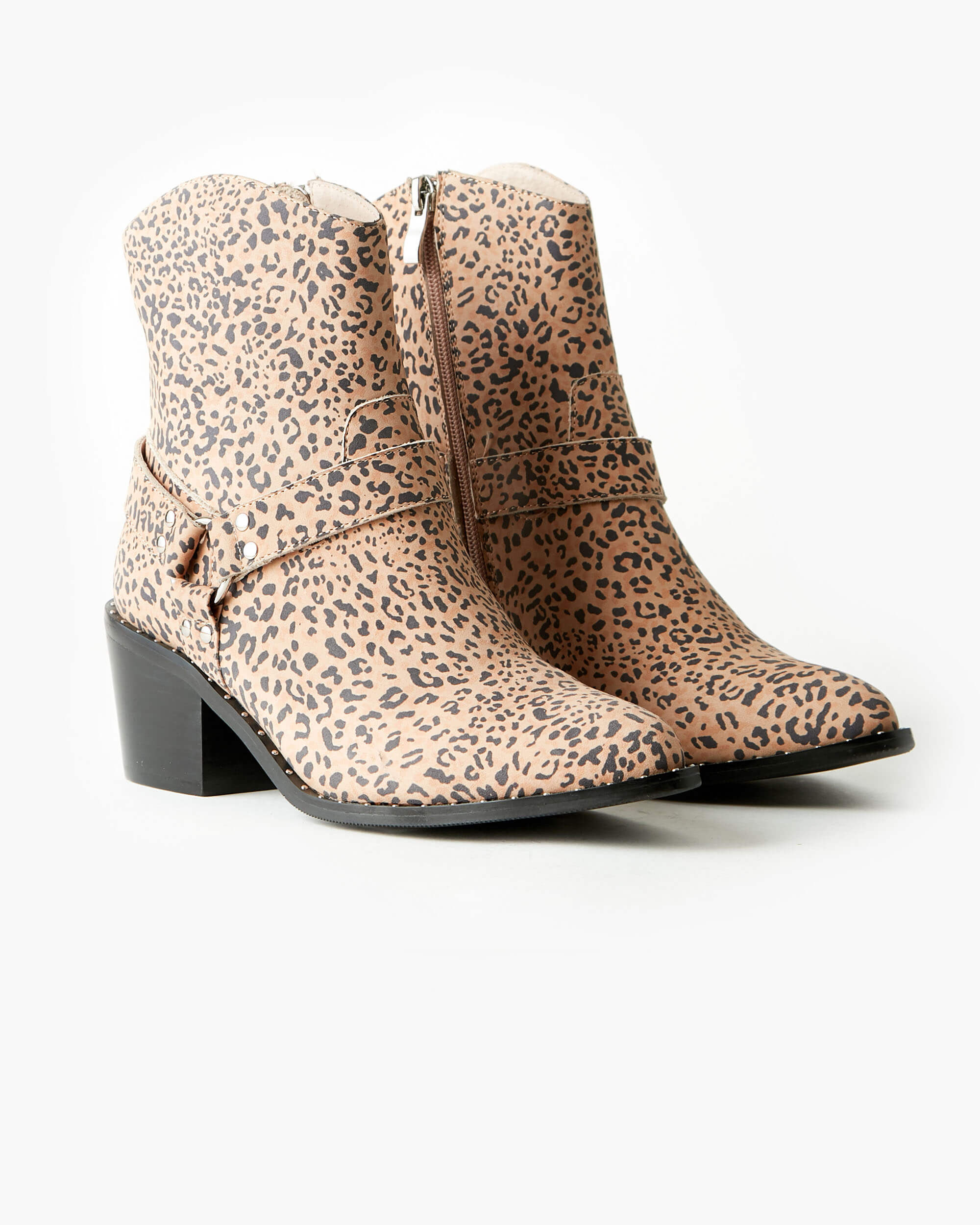 Western Leather Ankle Boot - Tan Leopard