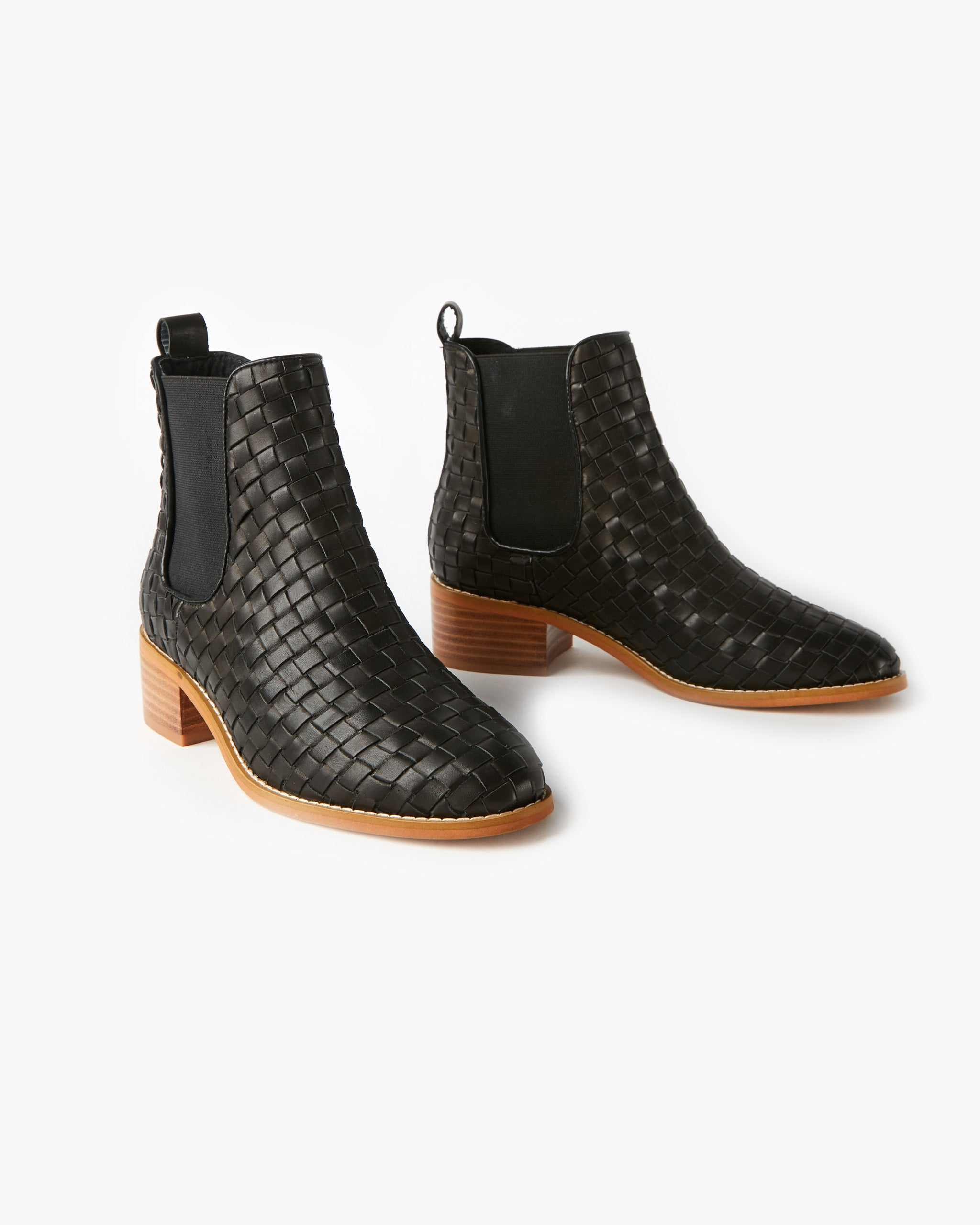 Grace Leather Weave Ankle Boot - Black