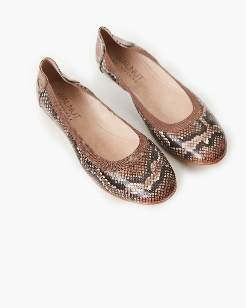 Ava Leather Ballet Flat - Chestnut Python