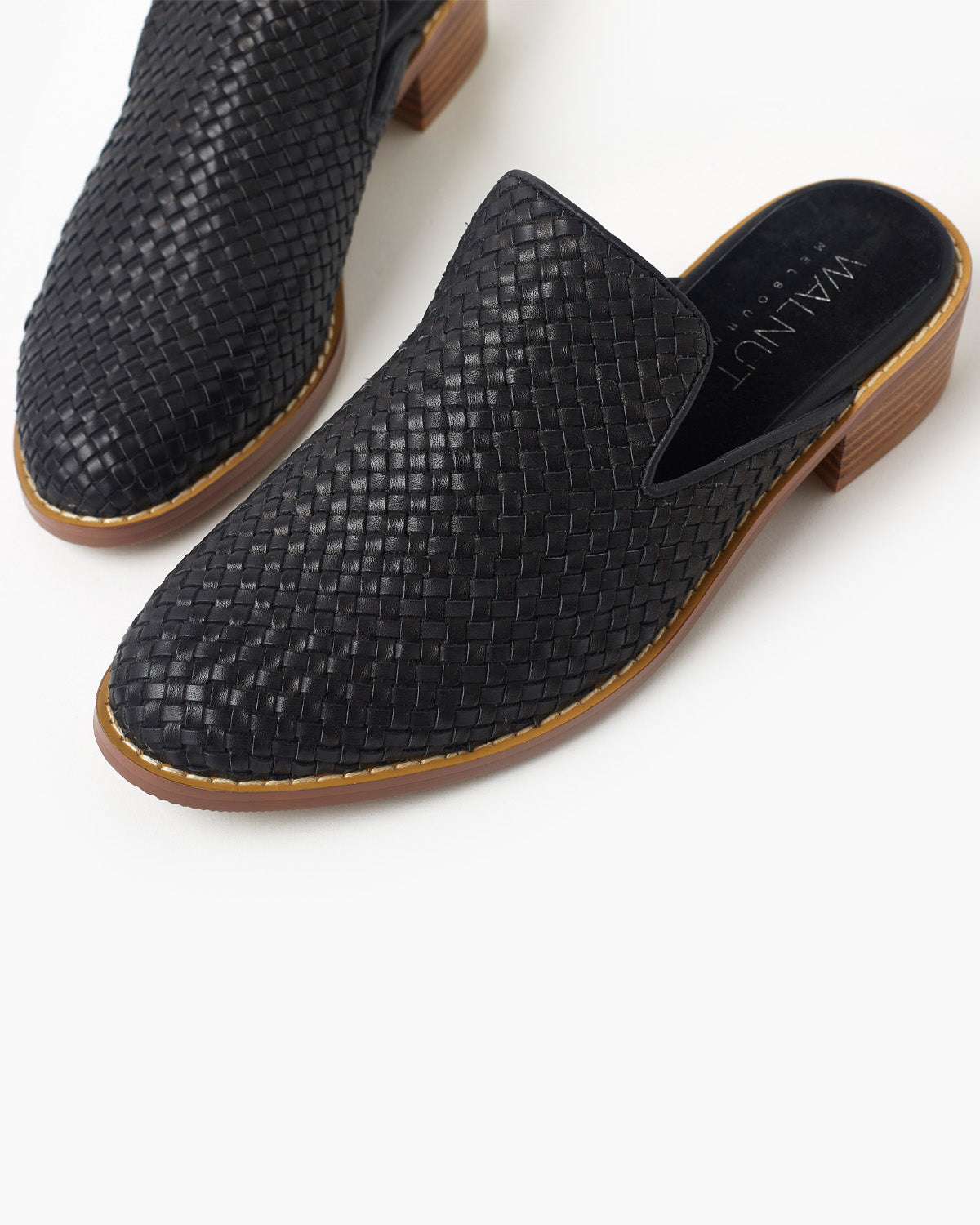 Gwen Weave Leather Mule - Black