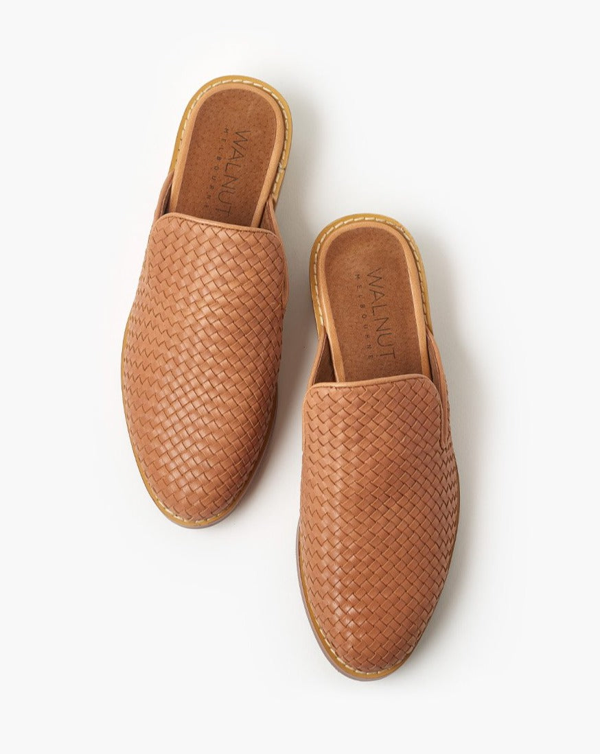Gwen Weave Leather Mule - Tan