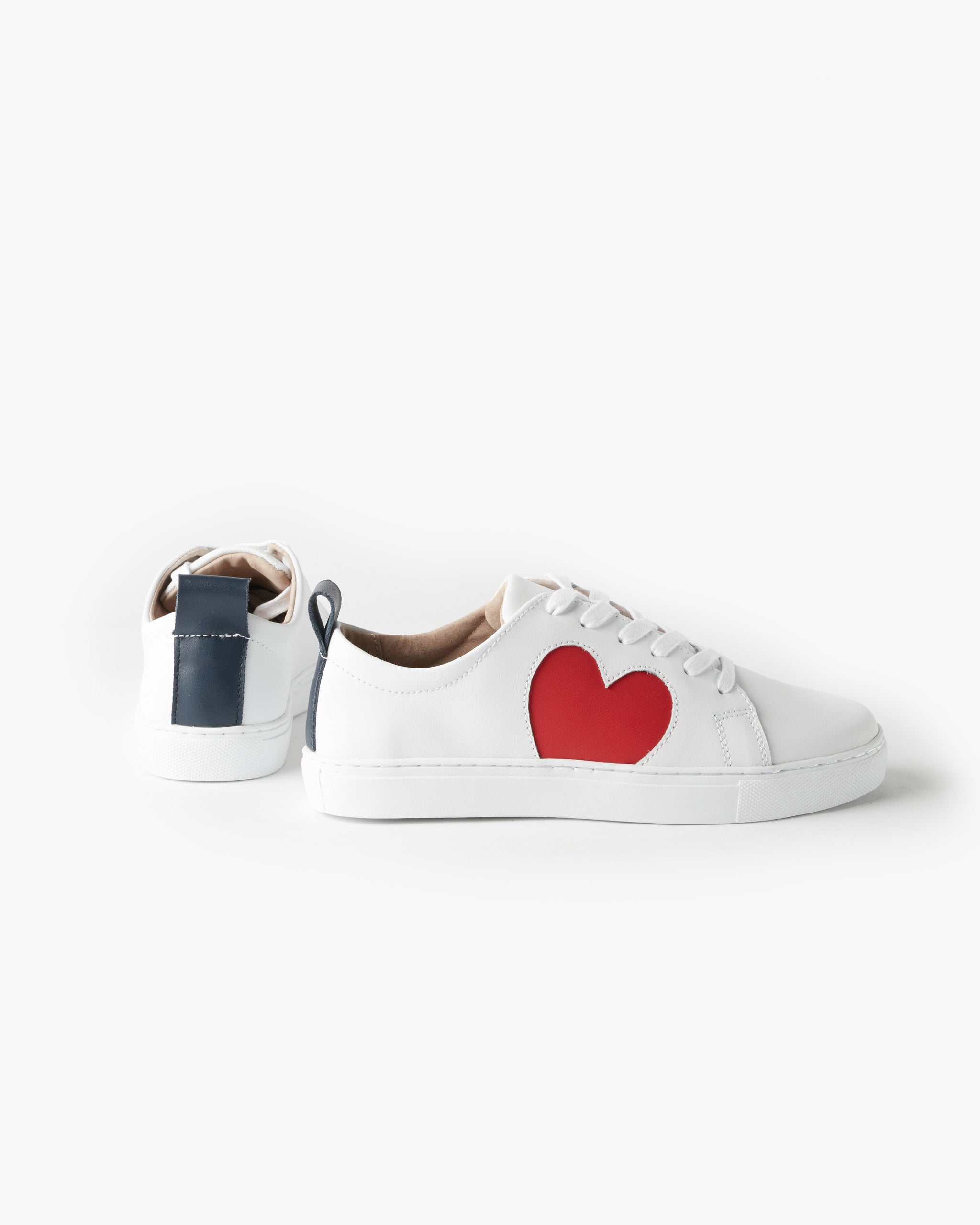 Heart Leather Sneaker - White
