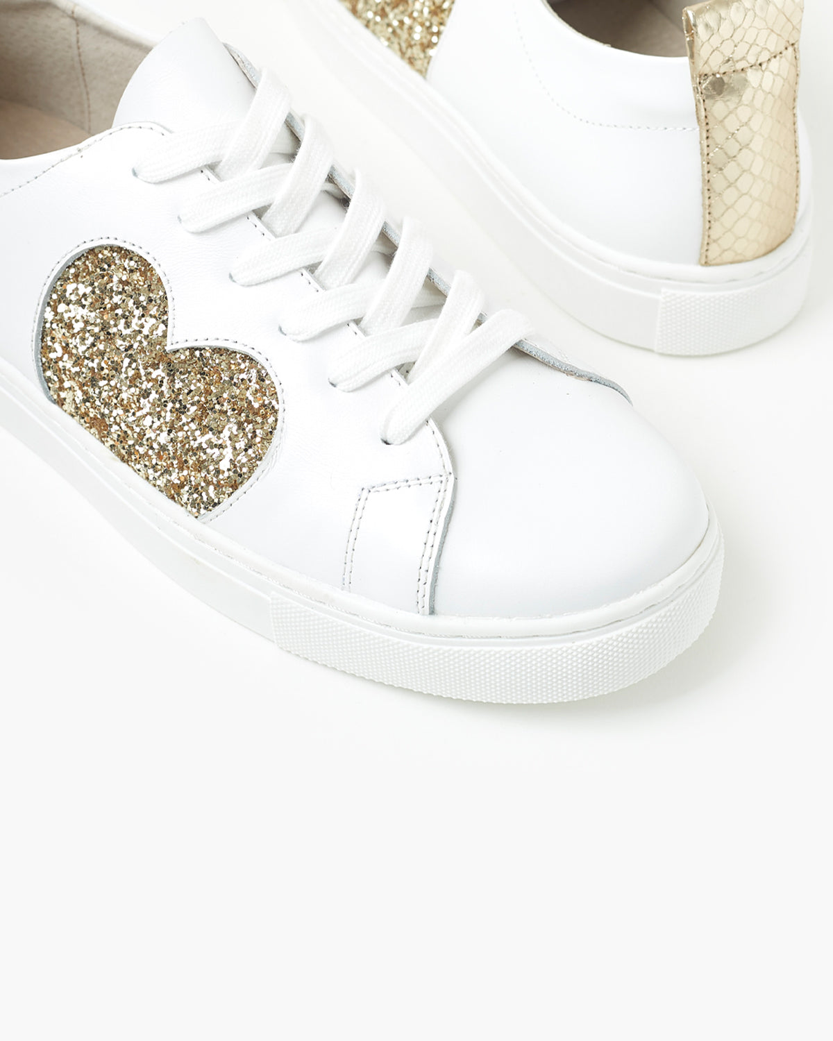 Heart Leather Sneaker - Gold Glitter