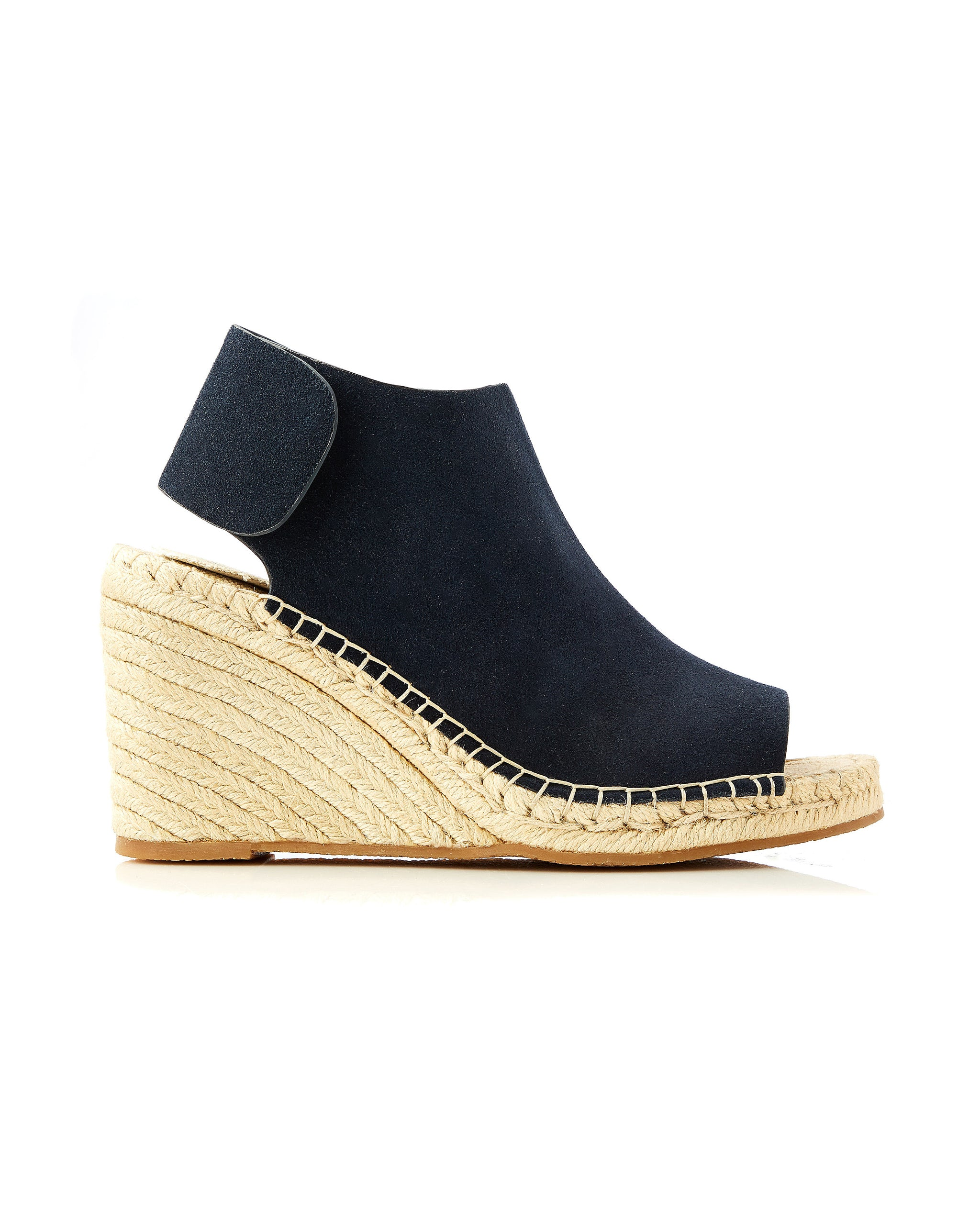 Vamp Wedge Navy Suede