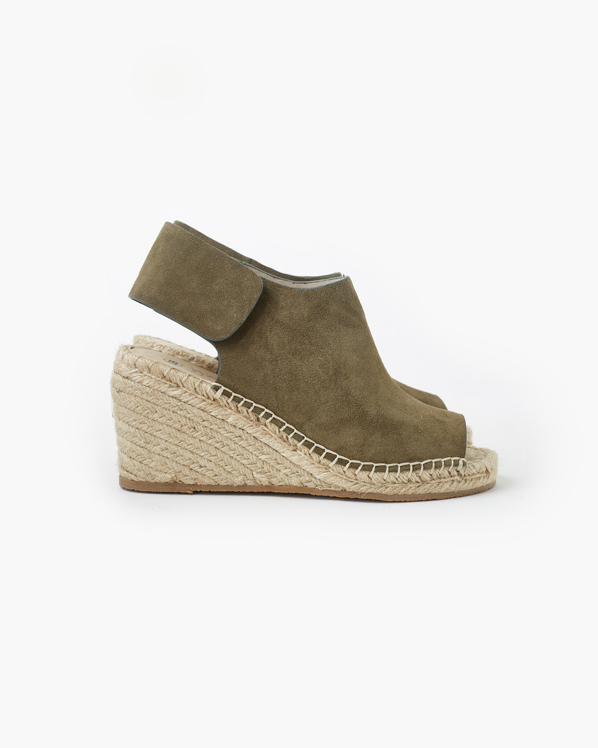 Vamp Leather Wedge - Khaki Suede