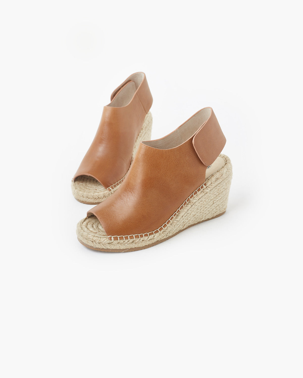 Vamp Leather Wedge - Tan